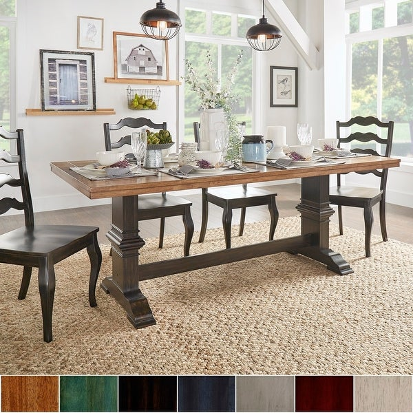 Eleanor Two-tone Rectangular Solid Wood Top Dining Table by iNSPIRE Q Classic. Opens flyout.