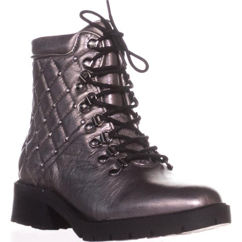 Marc Fisher Lanzia Lace-Up Booties, Pewter Leather - 7.5 US