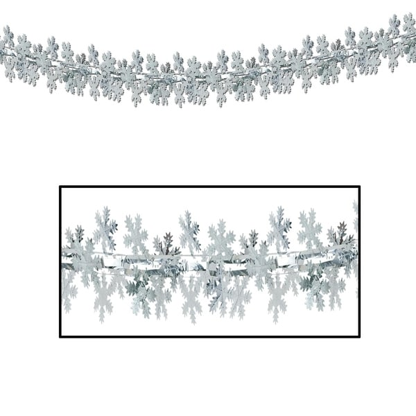 Pack of 12 Metallic Silver Christmas Snowflake Garland 9'