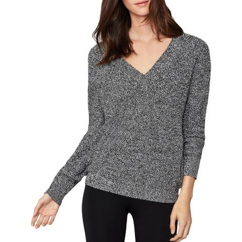 BCBG Max Azria Womens Pullover Sweater Marled V-Neck