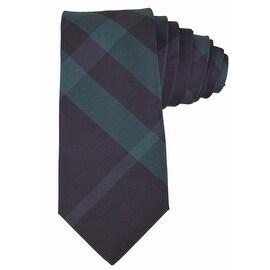 Burberry 100% Silk Rohan Carbon Blue and Green Nova Check Neck Tie