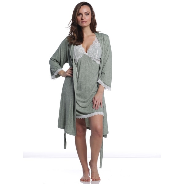 d1afe1805c4 Shop Body Touch Women s Lace Insert Robe   Gown Set - Sage - Free ...