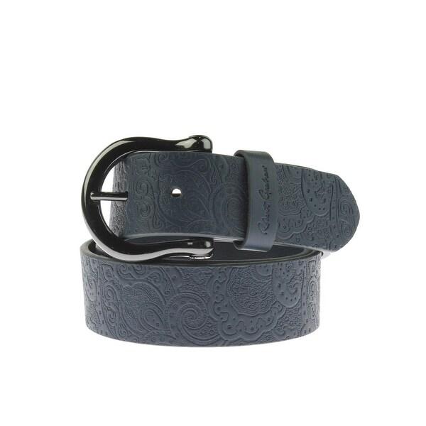 Robert Graham Mens Vince Casual Belt Faux Leather Embossed