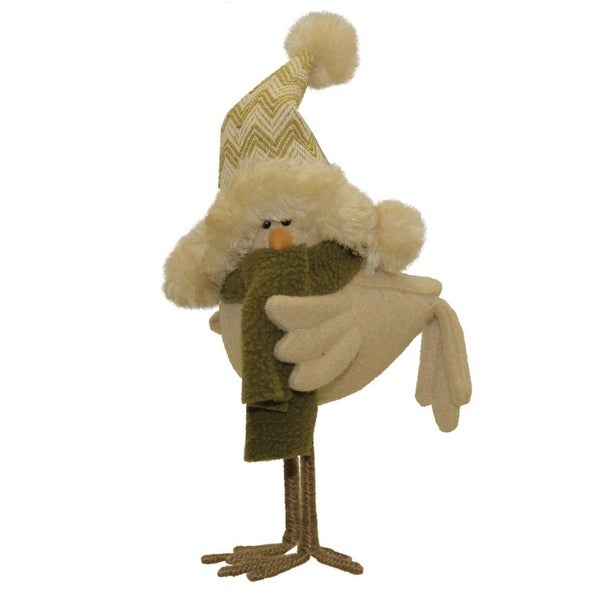 """8.25"""" Beige and Olive Green Standing Bird with Hat and Scarf Tabletop Decoration - brown"""