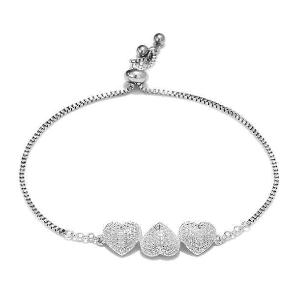 925 Sterling Silver Heart Diamond Bracelet with Adjustable Steel Chain. Opens flyout.