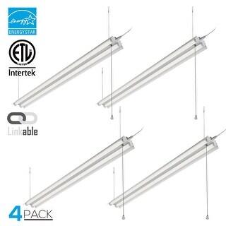 4 Pack 4ft Linkable LED Shop Light, 2-Tube T8 LED, 40W, 4000K
