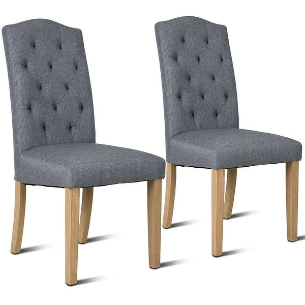 strong dining room chairs | Shop Costway Set of 2 Dining Chair Fabric Upholstered with ...