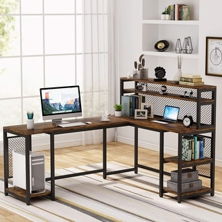 Link to Tribesigns 67 inch L-Shaped Computer Desk with Hutch and Storage Shelf Similar Items in Home Office Furniture