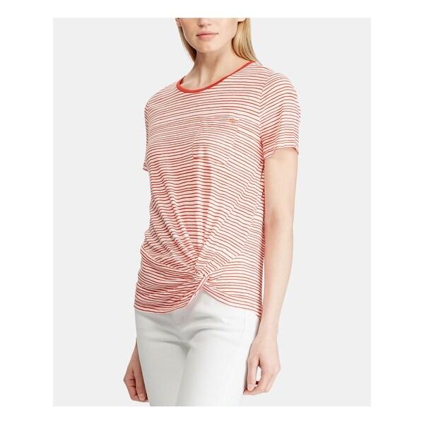 RALPH LAUREN Womens Red Striped Short Sleeve T-Shirt Top Size M. Opens flyout.