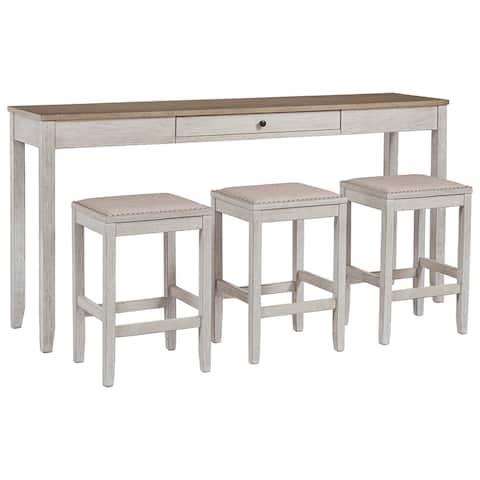 4 Piece Wooden Counter Height Table Set with Barstool, White and Brown