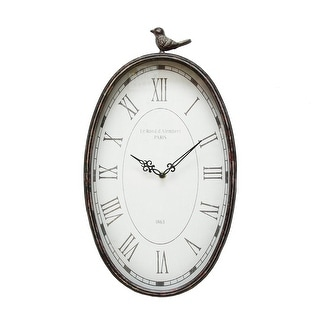 "Link to 10.75"" Oval Distressed Gunmetal Antique Bird Clock Similar Items in Decorative Accessories"