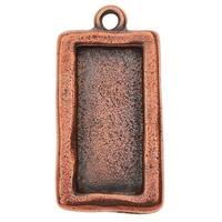TierraCast Bezel Pendant, Rectangle 15.5x31mm, 1 Piece, Copper Plated