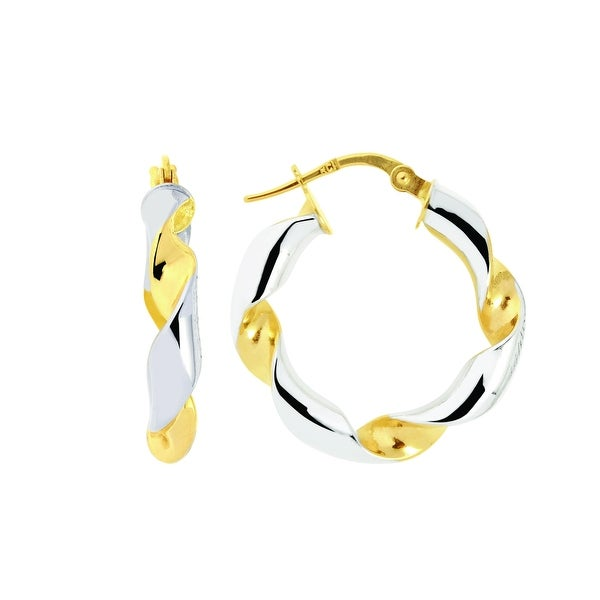 Mcs Jewelry Inc  14 KARAT TWO TONE, YELLOW GOLD AND WHITE GOLD, TWISTED HOOP EARRINGS - Two-tone