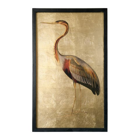 "31.5""H Gold Foil Heron Wall Decor with Wood Frame"