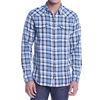 Lucky Brand NEW Blue Mens Size Small S Plaid Flannel Button Down Shirt