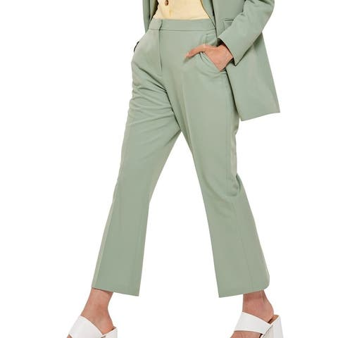 Topshop Womens Pants Green Size 8 Cropped Ankle Straight Leg Stretch