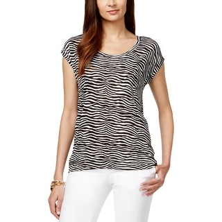 MICHAEL Michael Kors Womens Casual Top Zebra Print Cap Sleeve