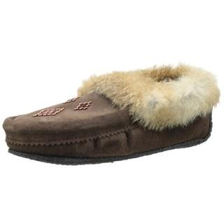 Manitobah Mukluks Womens Beaded Faux Fur Moccasin Slippers - 5 medium (b,m)