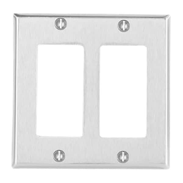 Switchplate Brushed Stainless Steel Double GFI