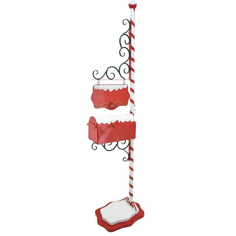 """Christmas Mailbox with Candy Cane Pole and Hanging Sign Plate - 16.5"""" L x 14.5"""" W x 72"""" H"""