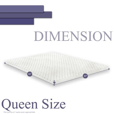 Onetan,1-Inch High Density Convoluted Eggshell Breathable Foam Topper, Add Comfort To Mattress.