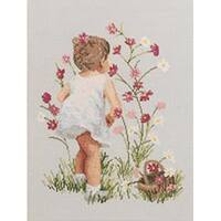 """Girl With Cosmos Counted Cross Stitch Kit-12""""X16"""" 14 Count"""