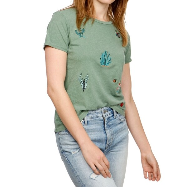 Lucky Brand Green Women's Size Small S Embroidered Cactus Tee