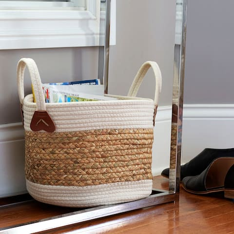 Household Essentials Two-Toned Corn and Hyacinth Wicker Basket, White and Natural