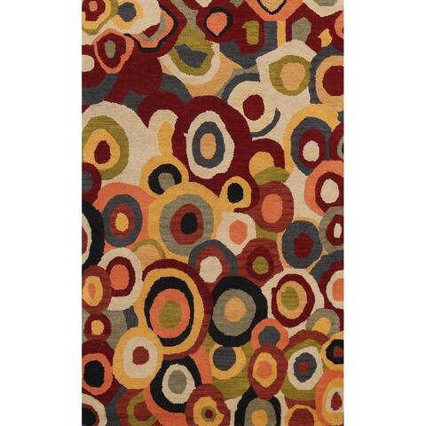 """Contemporary Abstract Oriental Wool Area Rug Hand-tufted Foyer Carpet - 5'0"""" x 8'0"""""""