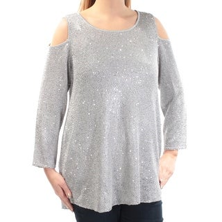 ALFANI Womens New 1269 Silver Sequined Cold Shoulder Sweater OX Plus B+B