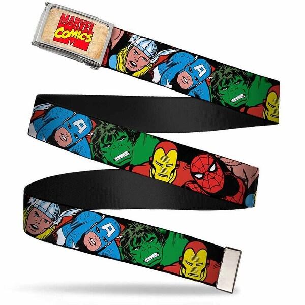 Marvel Comics Marvel Comics Logo Fcg Chrome 5 Marvel Characters Black Web Belt