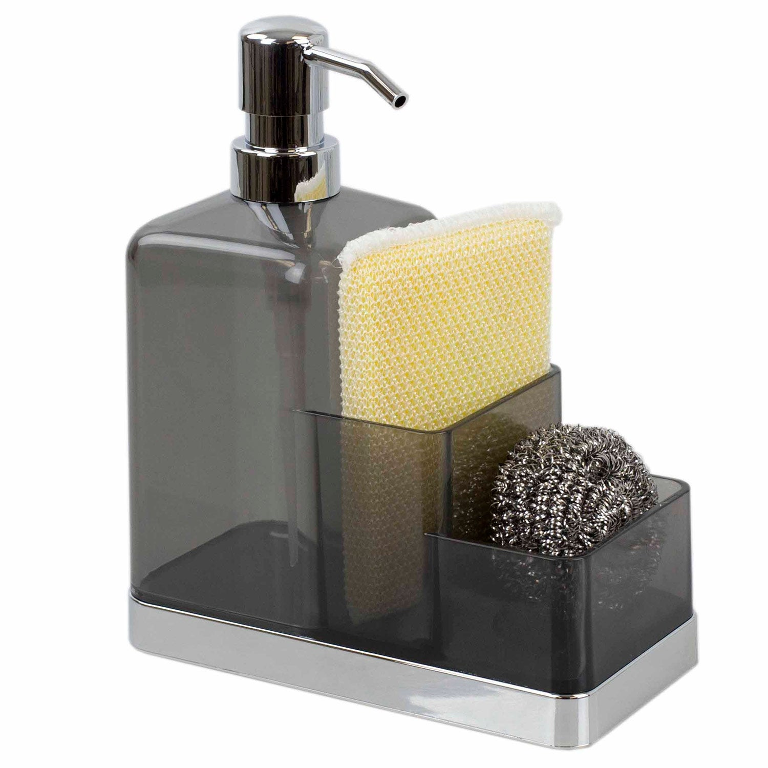 Picture of: Shop Home Basics Soap Dispenser And Sponge Caddy Organizer Gray Silver 8x3x6 5 Inches Overstock 28491253