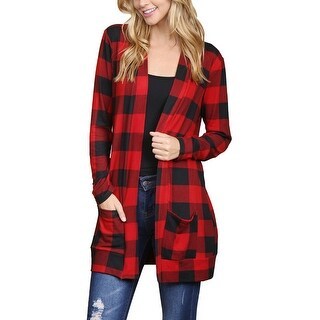 Riah Fashion's Long Sleeved Red & Black Plaid Pocket Cardigan