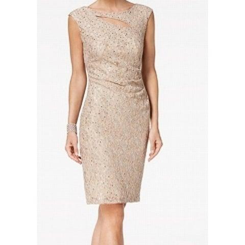 Connected Apparel Beige Women's Size 6 Sequin Lace Sheath Dress