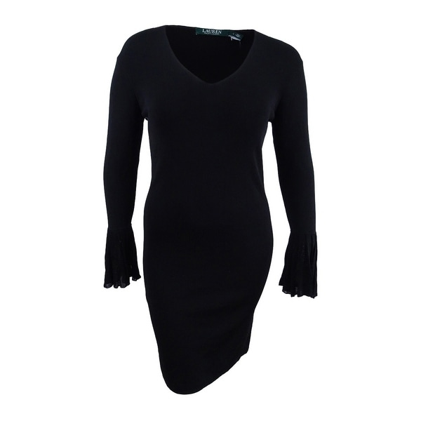 Shop Lauren By Ralph Lauren Women S Bell Sleeve V Neck Dress Black