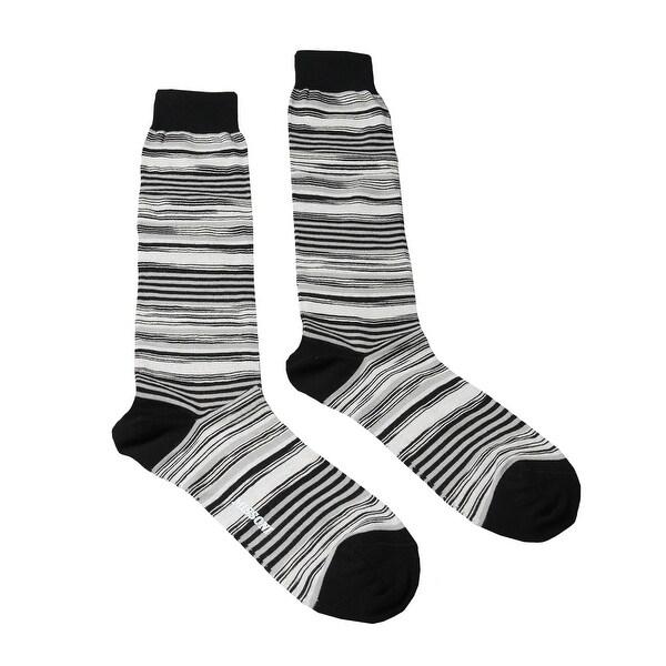 Missoni GM00CMU4658 0003 White/Black Striped Knee Length Socks. Opens flyout.