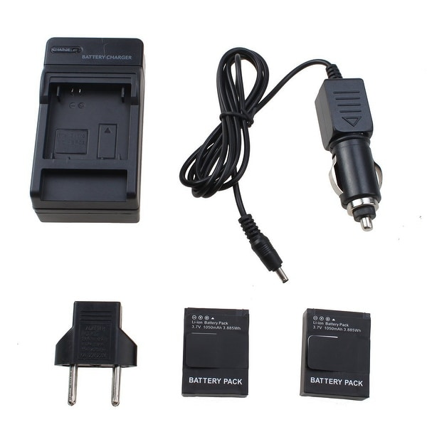 AGPtek 2x 1050mah Replacement Battery For GoPro HD Hero3 with AC/DC Charger Car charger