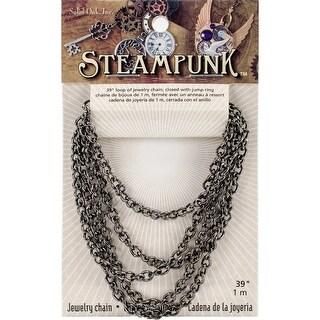 """Steampunk Metal Chain 39"""" 1/Pkg-Gun Metal Style E"""