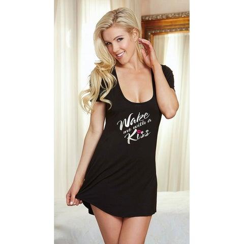 """wake Me With A Kiss"" Sleep Shirt, Black Nightgown"