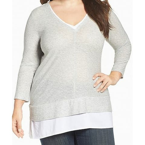 Vince Camuto Gray Faux Layered V-Neck Women's Size 2X Plus Blouse