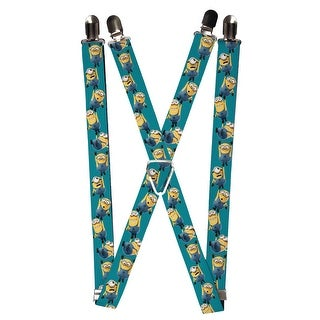 Buckle Down Kids' Elastic Despicable Me Minion Clip End Suspenders - Teal - One Size