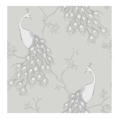 Phasia Grey Peacock Wallpaper - 20.5 x 396 x 0.025