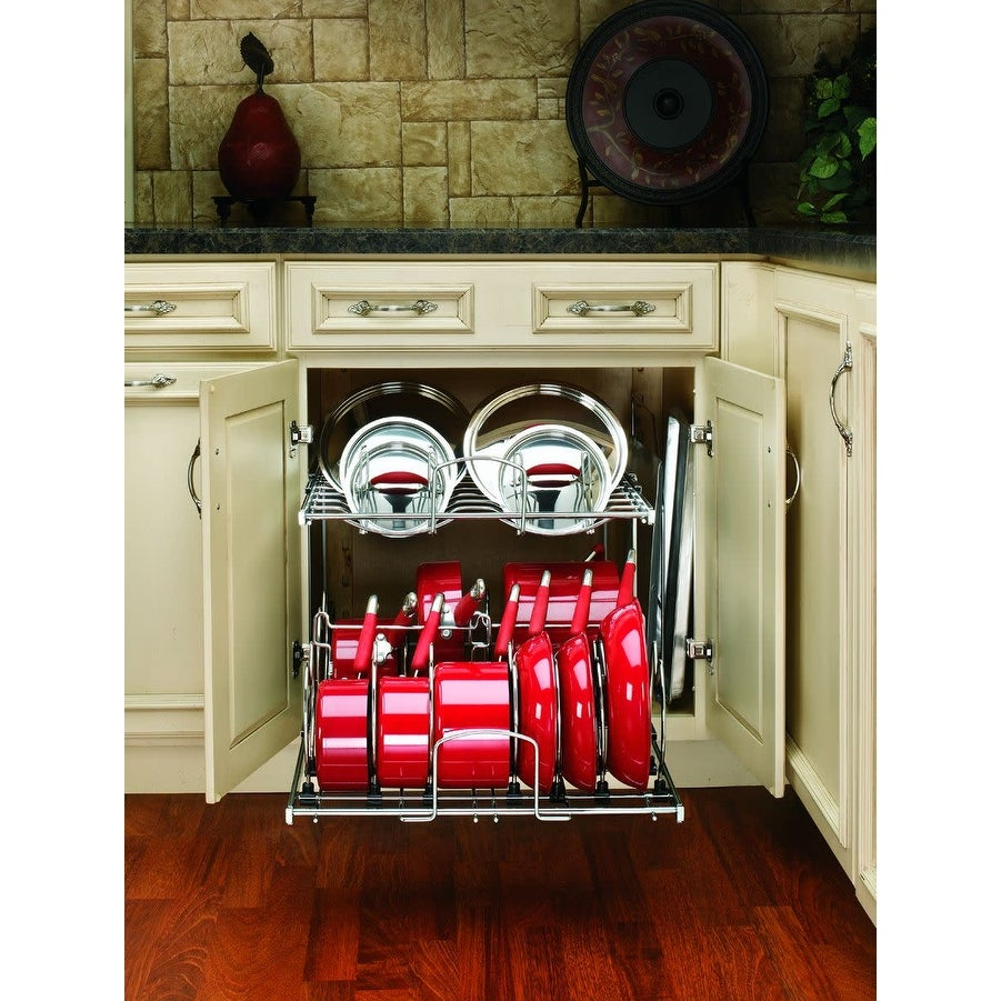 """Chrome Rev-A-Shelf 5CW2-2122 5CW2 Series 21/""""W Two Tier Pull Out Cookware"""