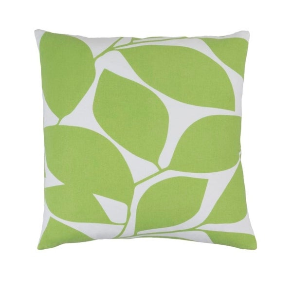 "22""Lavish Leaves Celery Green and Timberwolf Gray Decorative Throw Pillow - Down Filler"