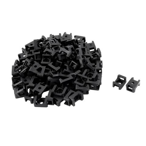 Plastic Saddle Type Cable Tie Base Mount Wire Holder Black 23 x 16 x 10mm 100pcs