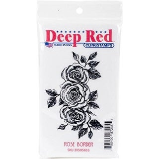 Deep Red Stamps Rose Border Rubber Cling Stamp - 3.1 x 2