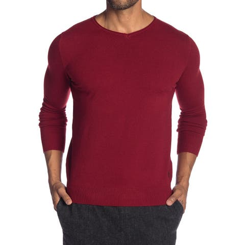 XRAY Red Mens Size Medium M V-Neck Log-Sleeve Pullover Sweater