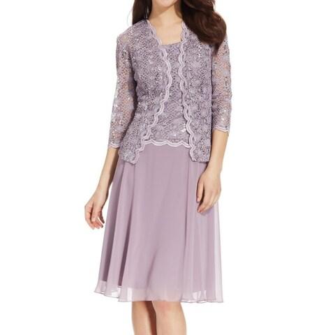 R&M Richards Womens Sequin Lace Jacket A-Line Dress