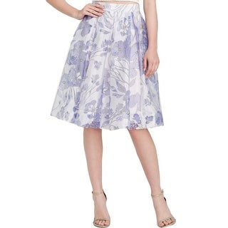 French Connection Womens Pleated Skirt Sheer Floral Print