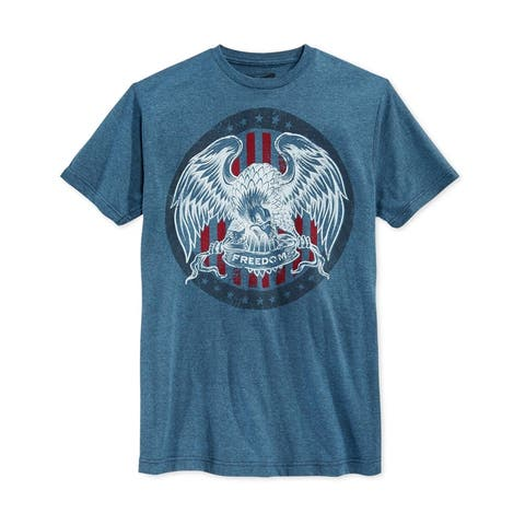 Retrofit Mens Eagle Freedom Graphic T-Shirt, Blue, Small